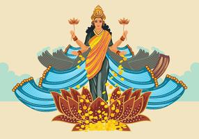 Blue Illustration of Goddess Lakshmi