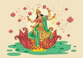 Vector Illustration of Goddess Lakshmi