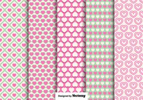 Vector Hearts Seamless Patterns