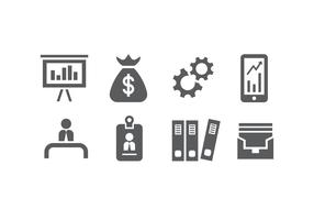 8 Silhouette Business Icon Vectors
