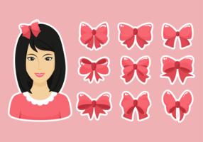 Hair Ribbon Icons Vector