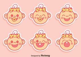 Cute Baby Face Expression With Ribbon Vector