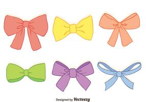 Hand Drawn Colorful Hair Ribbon Vectors