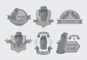 Easter Island Statue Label Illustration Vector