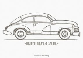 Hand Drawn Sketch Retro Car Vector