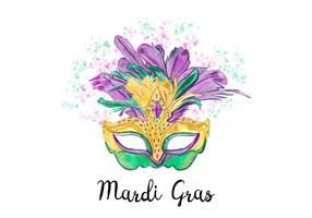 Creative Purple And Green Watercolor Mardi Gras Mask Vector