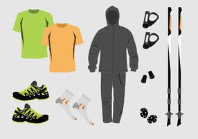 Nordic Walking Equipment Vector Pack