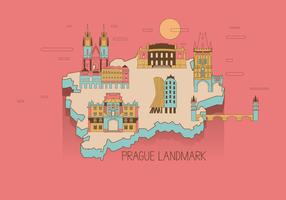 Prague Landmark Map Vector