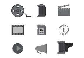 Free Grayscale Cinema and Film Vector Icons