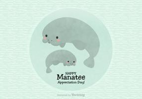 Happy Manatee Appreciation Day Vector