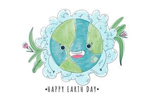 Cute And Happy Cartoon World With Flowers Earth Day