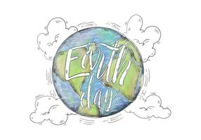 Watercolor Illustration World with Earth Day Lettering Vector