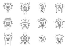 Minmal Bali Barong Mask Vectors