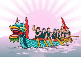 Dragon Boat Race Background Vector