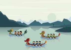Dragon Boat Race in River Illustration