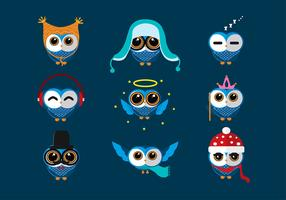 Coruja Blue Cartoon Free Vector