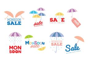 Monsoon Sale Vector Labels