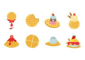 Free Flat Various Waffles Collection Vector