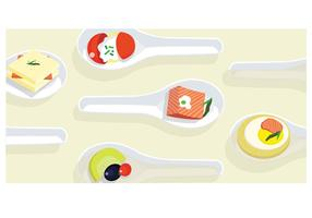 Canapes on Chinese Spoons Vector