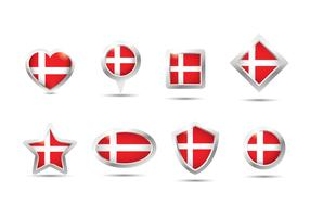 Danish Flag Button Vector