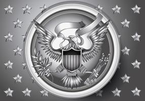 American Eagle Emblem with Silver Effect Vecto r