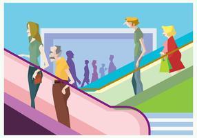 People on a Mall Escalator Vector