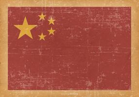 China Flag on Old Grunge Background