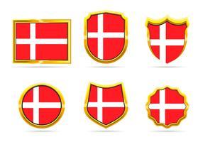 Golden Frame Denmark Flag Badge Vectors