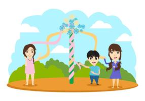 Free Maypole With Children Vector Illustration