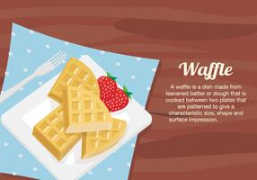 Waffles Dessert Plate On Table Vector Illustration