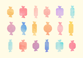 Free Watercolor Candy Vector