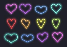 Free Neon Hearts Vector