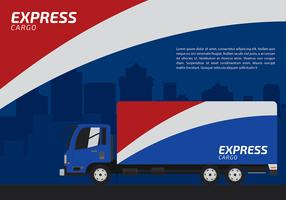 Red White and Blue Express Camion Free Vector