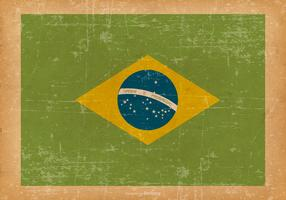 Flag of Brazil on Old Grunge Background