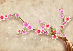 Japanese Style Peach Blossom Flower Background Vector