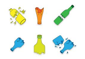 Broken Bottle Cartoon Vectors
