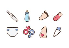 Free Doodle Icon Set of Maternity