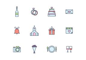 Simple Outlined Wedding Icons