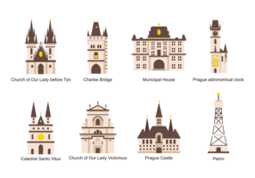 Prague Icons Vector