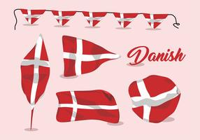 Wavy Danish Flag Vector Set