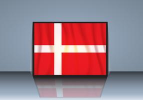 Flag of Denmark with Shadow Vector