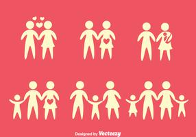 Family SIlhouette Icons Vectors