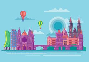 Famous Prague Landmarks Towers and Bridge Vector