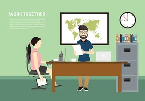 Work Together Office Free Vector