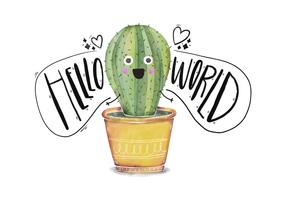 Cute Cactus Character Saying Hello World Quote