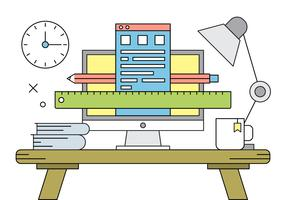 Free Vector Illustration with  Office Desk.