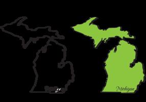 Michigan Mitten State Outlines Vectors