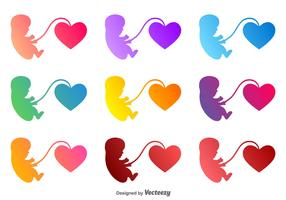 Vector Fetus With A Heart Icon