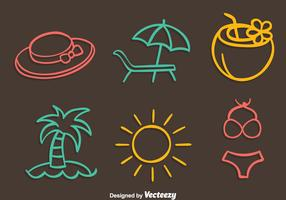 Beach Element Colored Line Vector