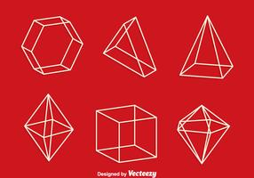 3d Geometric Shapes Line Vector